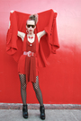 Red-vintage-jacket-red-trosman-dress-black-sam-edelman-shoes-tights