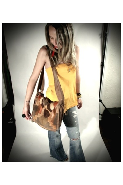 yellow apparellel top - Levi Strauss jeans - char purse - orange apparellel earr
