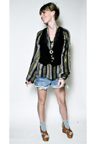 black vintage vest - vintage blouse - Juicy Couture shorts - Michael Kors shoes