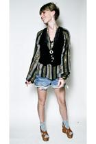 black vintage vest - vintage blouse - Juicy Couture shorts - Michael Kors shoes