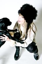 vintage chanel blouse - black aa leggings - vintage hat - black Cathy Jean boots