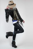 black William Rast jacket - black j brand x duarte jeans - asos hat - Senso boot