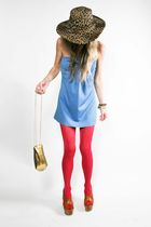 blue vintage dress - pink American Apparel tights - Jessica Simpson shoes - vint