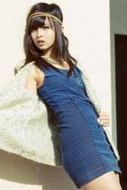 blue H&M dress - beige vest