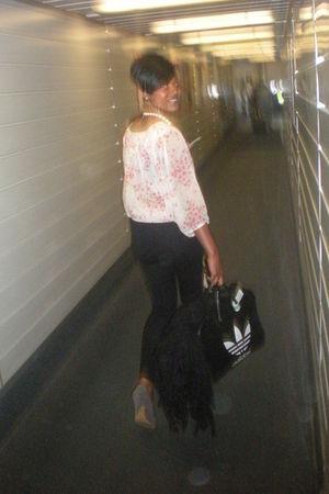black adidas vintage bag - pink Primark blouse