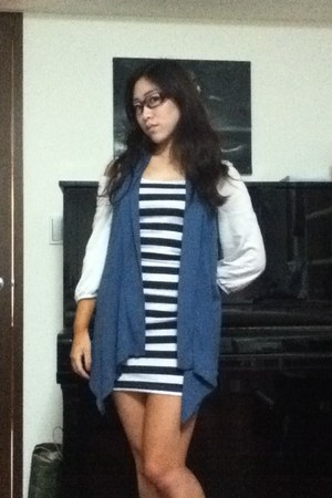 dress - white French Connection top - vest - glasses - navy Converse sneakers