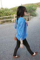 blue blouse - brown - black pants