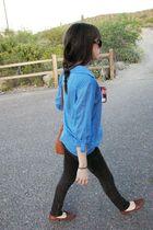 blue blouse - brown - black pants