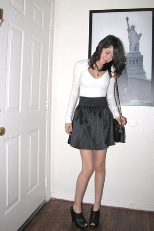 white hollister shirt - black Spring Street skirt - black Charlotte Russe shoes