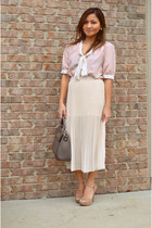 blouse - gray square bag - skirt