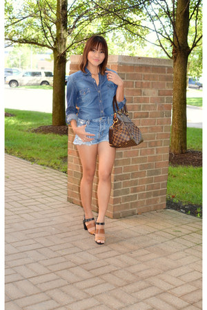 denim shirt H&M shirt - denim shorts American Eagle shorts