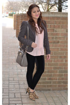blush peplum Forever 21 blouse - tweed Guess coat
