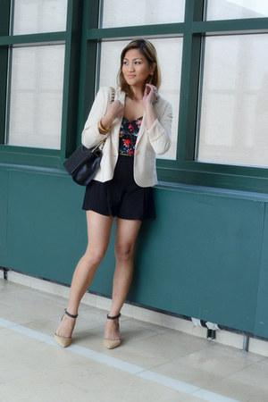 crop top Express top - kitten heels Enzo Angiolini shoes - tuxedo H&M blazer