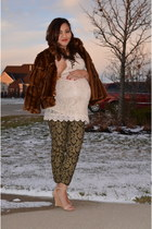 lace H&M dress - faux fur INC coat - baroque Bisou Bisou pants