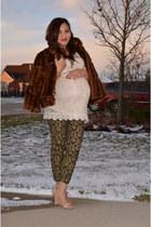 lace H&M dress - faux fur INC coat - baroque Bisou Bisou pants