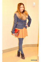 bag - wedge oxford shoes - coat - chiffon skirt