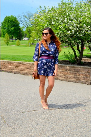 floral bar111 romper - Clarks bag - cat eye Prada sunglasses