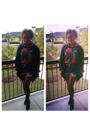 thrifted shirt - Bamboo boots - Charlotte Russe tights - thrifted shorts