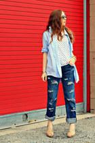 button down shirt - polka dots shirt - jeans