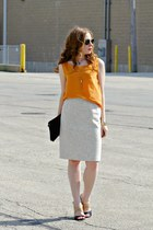 orange top - pencil skirt