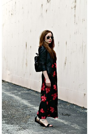 leather jacket - floral maxi dress - bag - black and white sandals