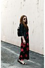 Floral-maxi-dress-leather-jacket-bag-black-and-white-sandals