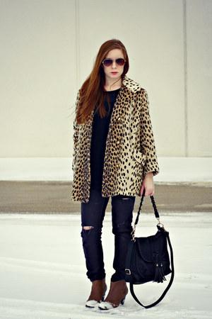 leopard print vintage coat - jeans