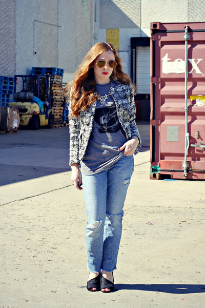 graphic tee t-shirt - distressed diy jeans - tweed jacket - statement necklace