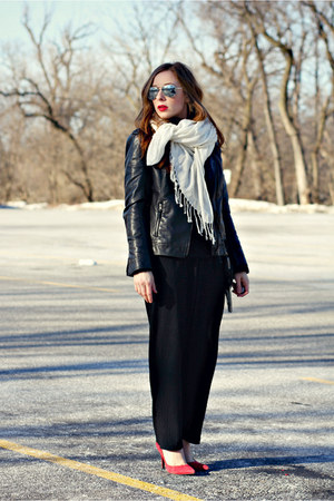 black pants - black leather jacket - scarf - red heels
