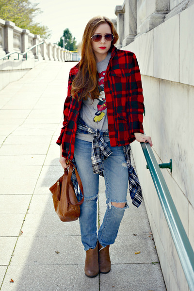 distressed jeans - buffalo plaid jacket - shirt - mickey mouse t-shirt