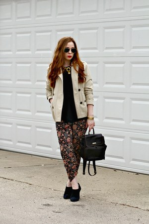 trench coat - black boots - black sweater - floral print pants