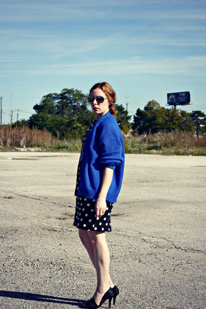 polka dot dress - blue cardigan