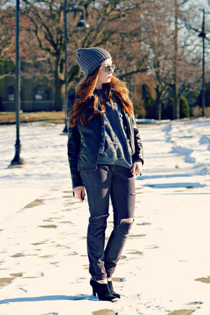 diy jeans - hat - jacket