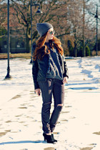 diy jeans - hat - jacket