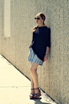black sweater - striped shorts