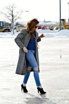 vintage coat - boots - jeans - sweater
