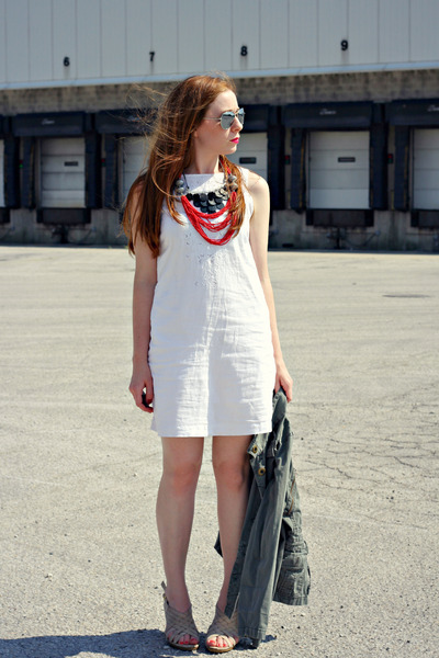 layered necklace - white dress - army green coat