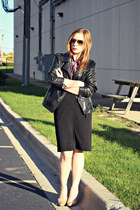 shirt - faux leather jacket - black pencil skirt