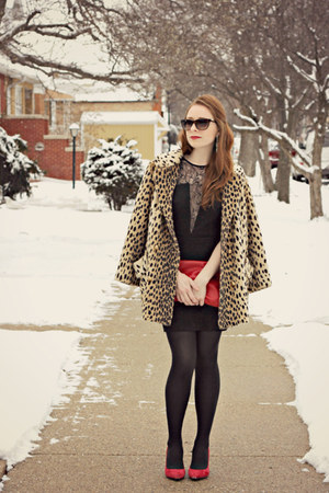 coat - dress - heels