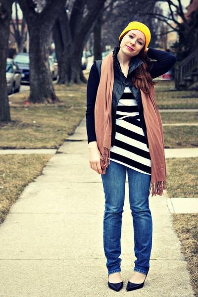vest - dress - jeans