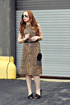 leopard print dress - fringe bag - studded belt - heels