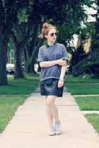 diy sweatshirt - leather skirt