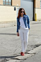 white top - diy jacket - sandals - white pants