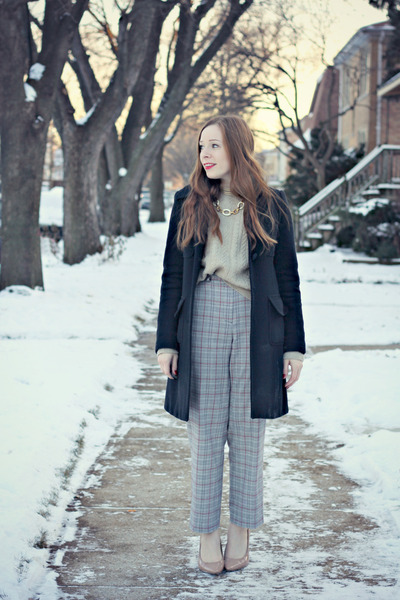 black coat - beige sweater - plaid pants