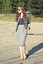 pencil skirt skirt - army green jacket - floral shirt
