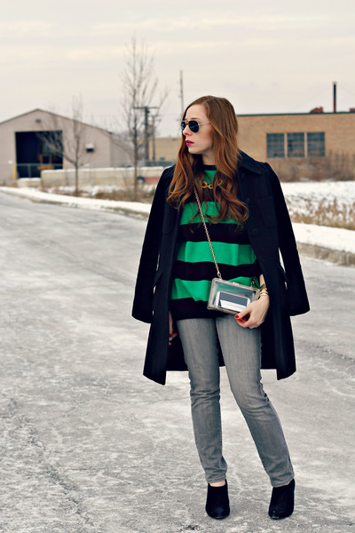 black coat - gray jeans - striped sweater