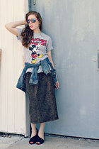 leopard print skirt - denim jacket - mickey mouse t-shirt