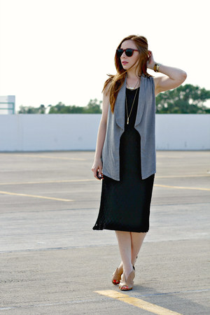 gray kika vest - black lace thrifted dress