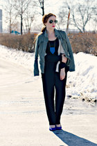 black pants - army Loft jacket - black and white Bevello sweater