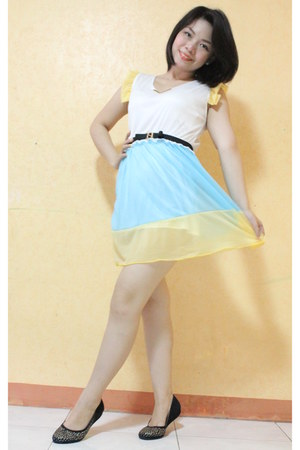 eggshell dress - sky blue dress